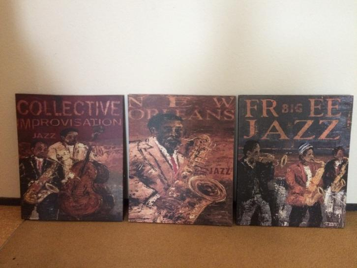3 Jazz posters op canvas