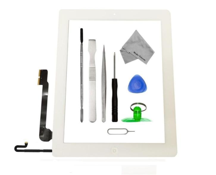 Apple iPad 4 wit digitizer touchscreen glas met toolkit