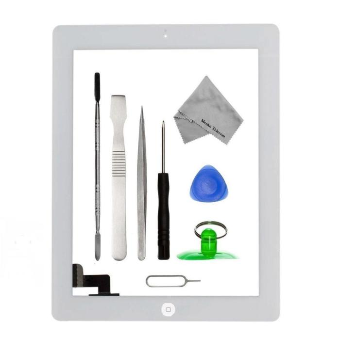 Apple iPad 2 wit digitizer touchscreen glas met toolkit