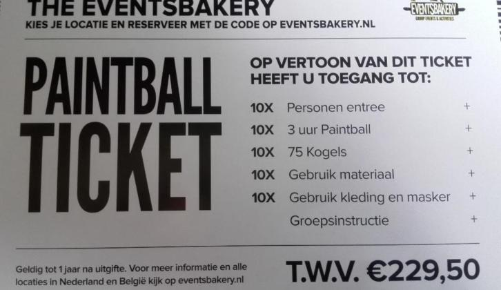 Paintball ticket voor 10 personen t.w.v. 229,50