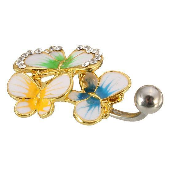 Crystal Colorful Belly Navel Bar Ring Butterfly Body Jewelry