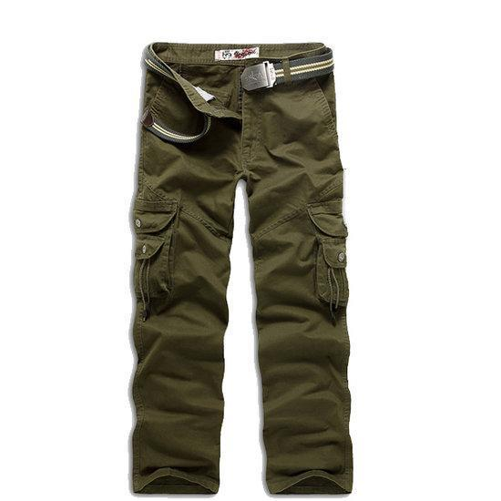 Mens Cargo Cotton Pants Multi Pockets Casual Pants Work O...