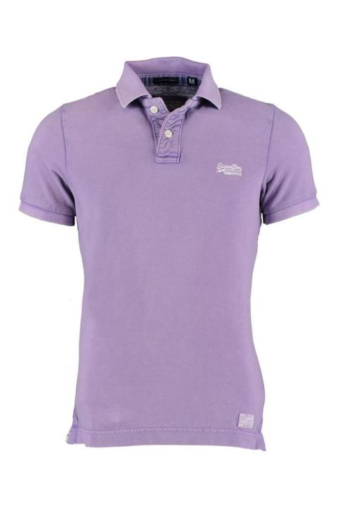 Superdry Vintage Destroyed SS Polo in Real Berry - MSPIT0...