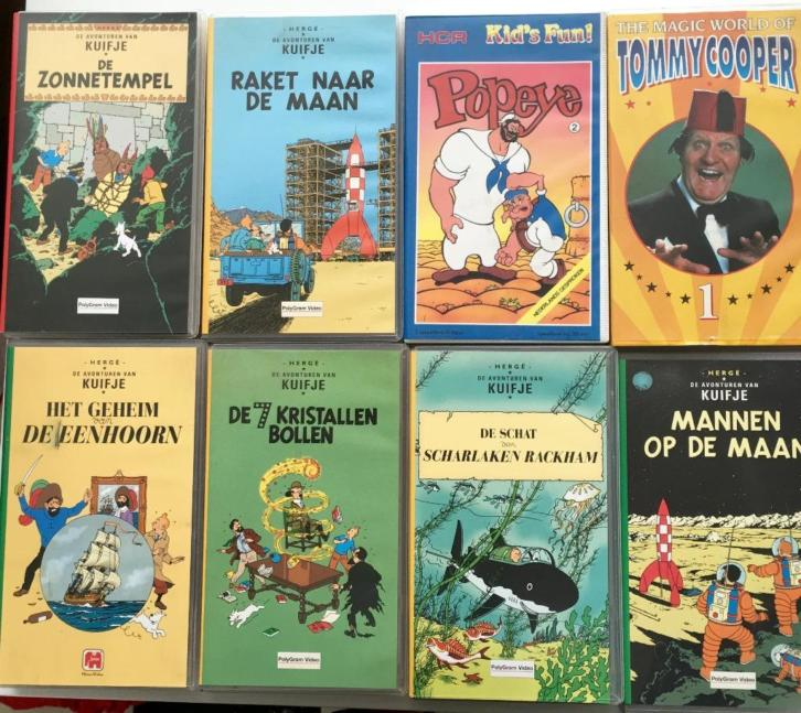 Kuifje 6 x VHS, + Popey + Tommy Cooper + Mr. Bean