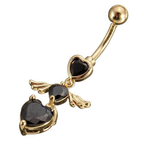 Wing Heart Body Piercing Belly Drop Navel Ring Jewelry