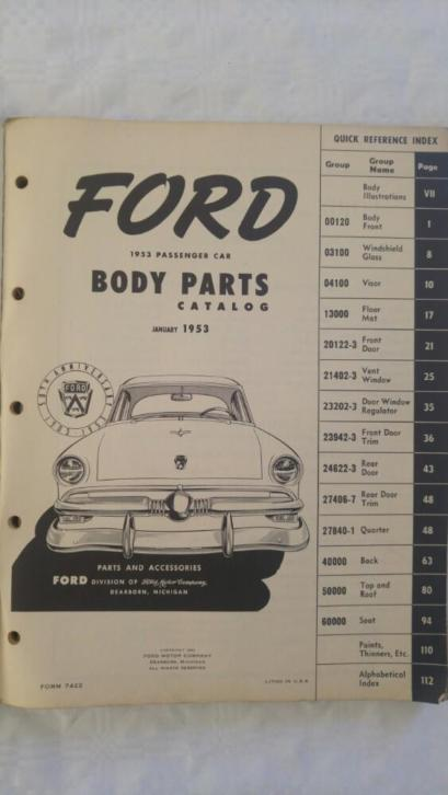Ford body parts catalogus 1953