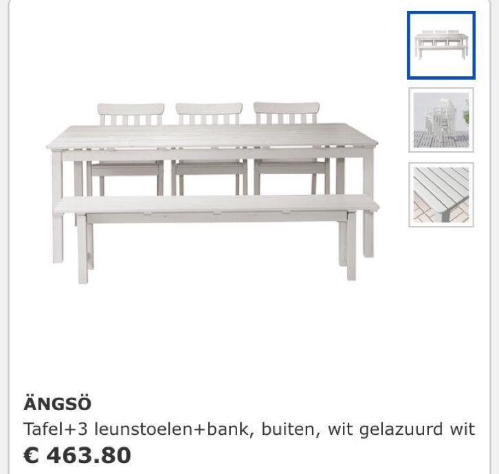 Best tuinset angso ikea tafel stoelen bank with ikea witte for Witte tuinstoel