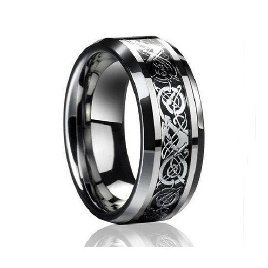 Bahamut Men Tungsten Steel Carve Flower Wide Finger Ring