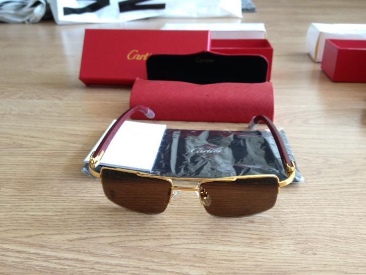 Cartier Buffalo Horn Gold Temples Semi Rimlees bambo wood