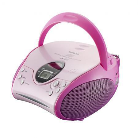 Lenco SCD-24 MP3 Pink - Portable Stereo FM Radio + CD/MP3