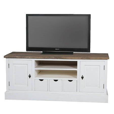 Trendy TEAK Tv-Meubel Evelien wit 150B Nu € 499,- ACTIE!!