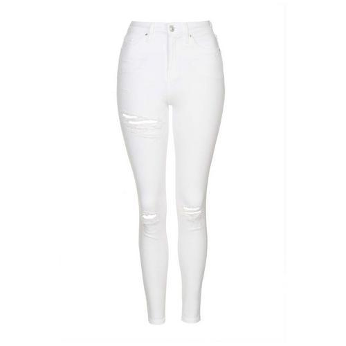 Topshop high waisted skinny fit ripped broek 30 inch maat