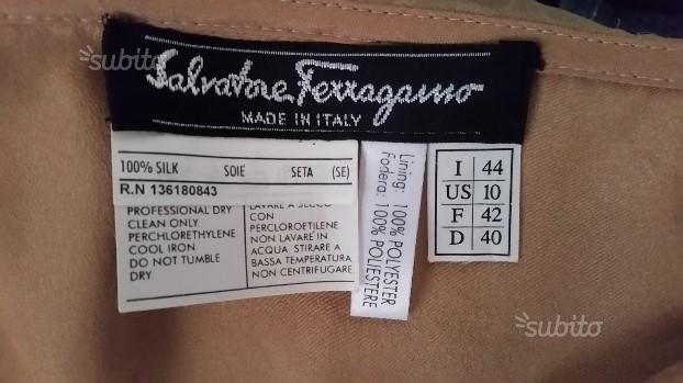 Salvatore ferragamo originalegonna in seta tg 44